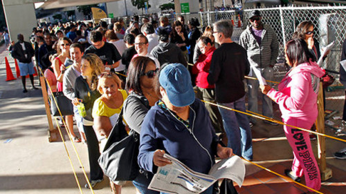 "11 Things to Do While Waiting in Line to Vote 1. Catch up on Facebook statuses to make sure you're informed. 4. Constantly ask when they're serving pizza. 6. Breathe heavily on the person in front of you and say ""Fuckin' Romney, right?"" 7. When people complain that the line is taking forever, exclaim ""I KNOW! And I'm not even registered to vote."" Read the whole list here. Because, face it: YOU HAVE TIME!"