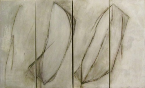 Title: Becoming Air 48 x 30 inches (4 panels, each 12 x 30) mixed media on canvas From solo show at J Costello Gallery Cody Riess