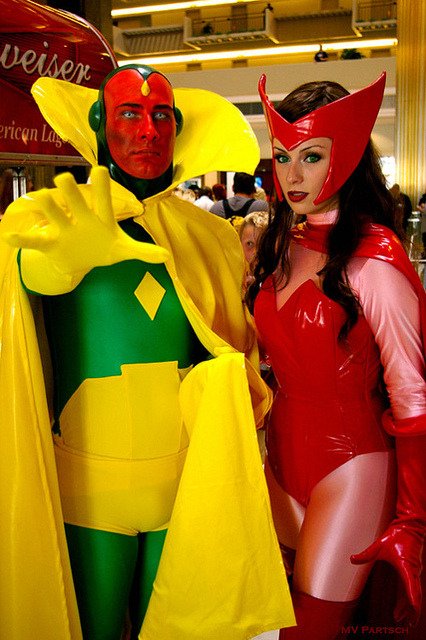 ikearstin:  Vision and Scarlet Witch on Flickr. My Scarlet Witch and @mikemisanthropy as Vision :)  That fella would also make an awesome Doctor Manhattan.