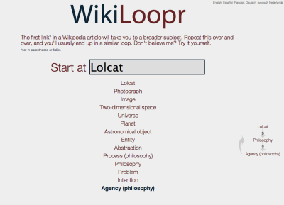 WikiLoopr - another visualization of the wikipedia paths based on the first link in an article where the endpoint is a loop. probably related to philosophy because everything in wikipedia winds up at philosophy. (from this, it bounces between Agency (philosophy) and philosophy forever)