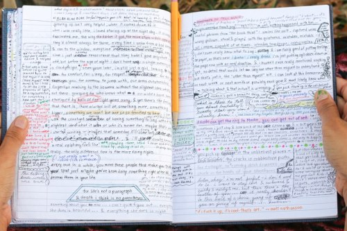 "humansofnewyork:  A glimpse into the journal of a (quite intelligent) 16 year old girl. Photographed, with permission, in Central Park.   ""If Frodo can get the ring to Mordor, you can get out of bed"""