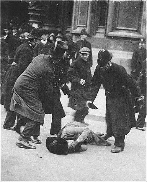 Note: This pic is not Susan B Anthony, but it is a woman fighting for her rights (An English suffragette)  getting beat down so the message is the same. Thanks to the folks who wrote and were civil about it. The point is…. People had to fight for the rights we have. Don't squander it. The woman in the photo is  Ernestine Mills - Suffragette. Wrong woman. Same message.