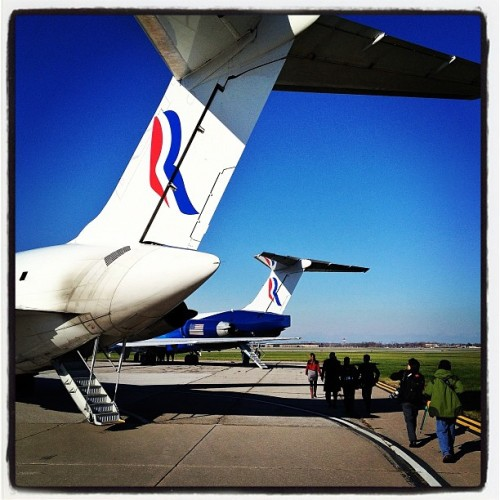 The Romney and Ryan planes on the tarmac in Cleveland, OH #campaign2012 #mittromney #election