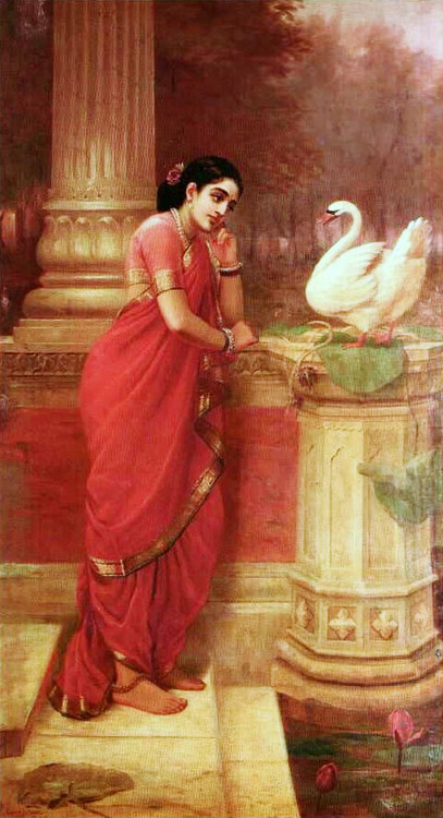 myworldmyperceptions:  Dayamanti and the swan - Painting by Raja Ravi Varma (19th century)