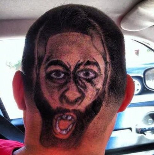 "Guy Has James Harden Shaved Into His Hair Basketball meets Evard Munch's ""The Scream"""