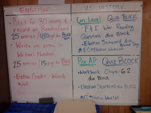 Tuesday's Homework!  Happy Election Day!