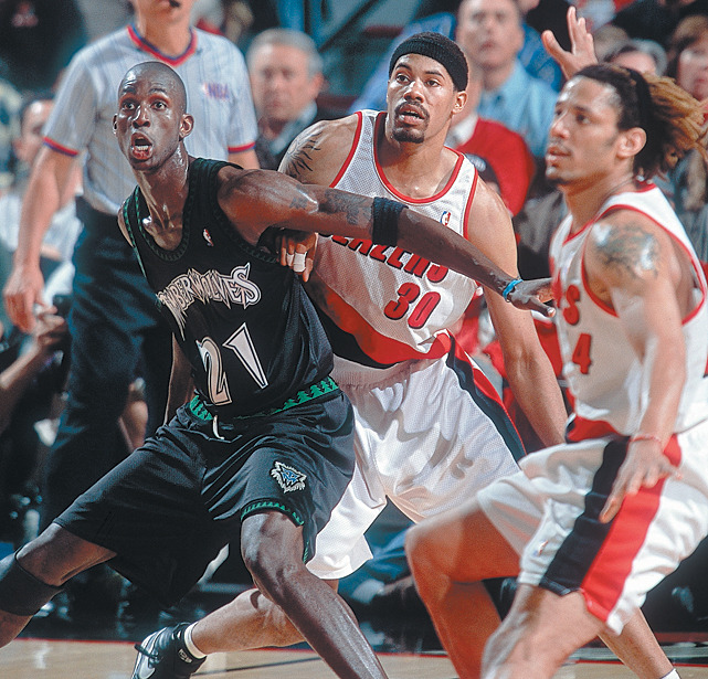Kevin Garnett fights for position against Rasheed Wallace during a 2000 Timberwolves-Blazers game. (John Biever/SI) GALLERY: Rare Photos of Kevin Garnett | Rasheed Wallace