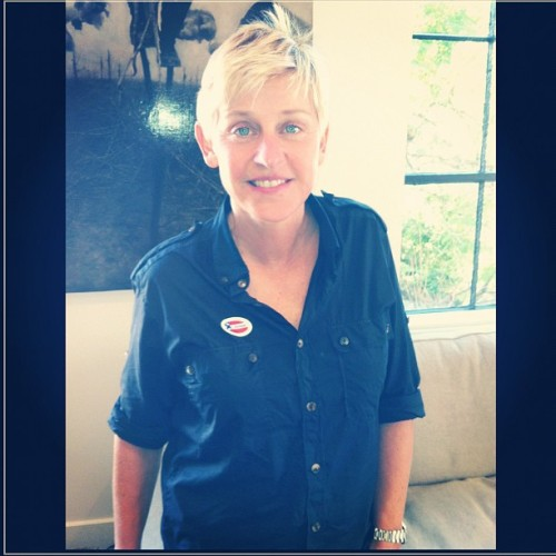 ellendegeneres:  Happy Election Day! Take a photo of your #ivoted sticker, and share it with me. But most importantly, VOTE!   Ellen 4 Lez Prez