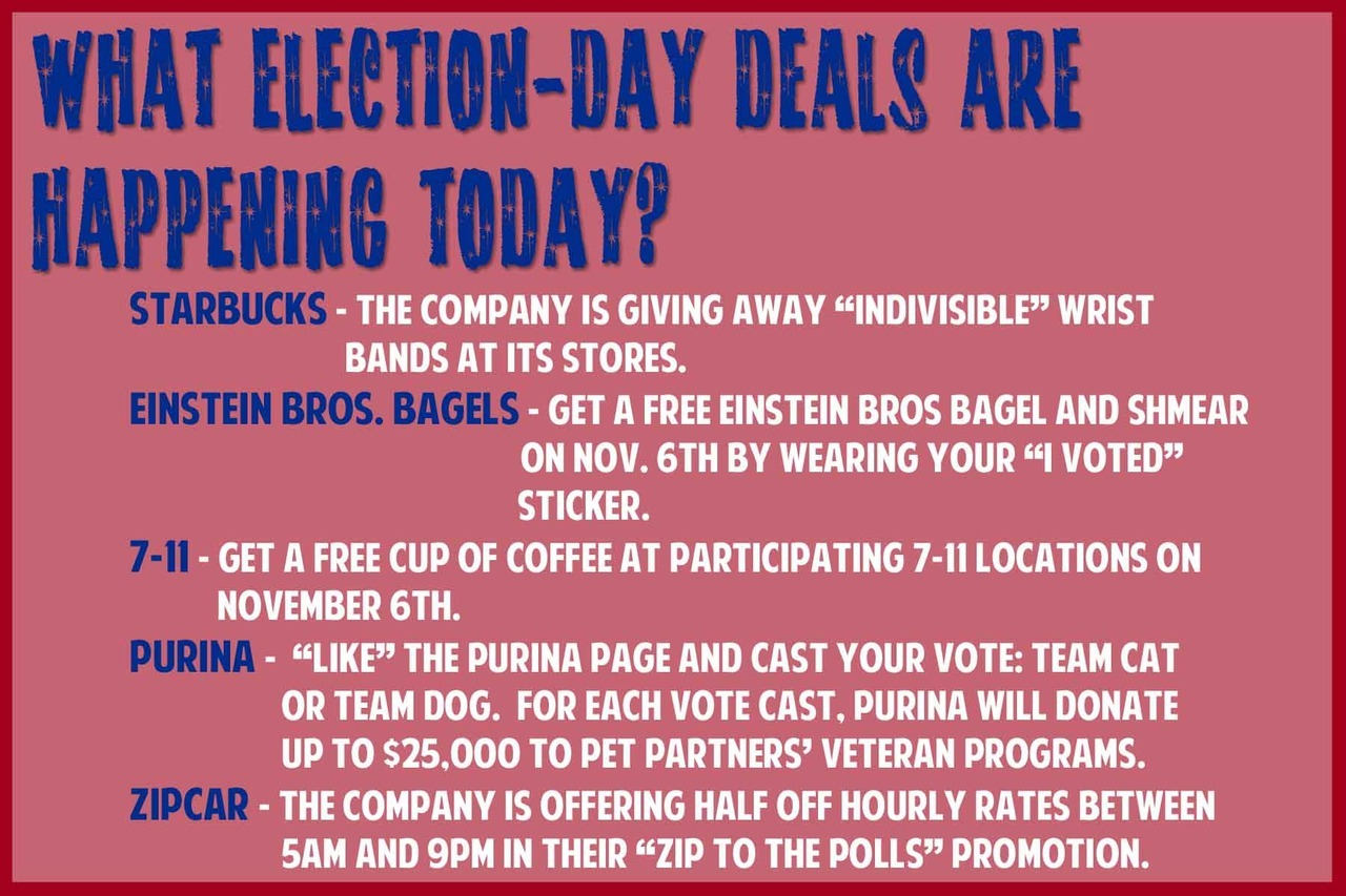 There are Election Day DEALS/FREEBIES today. Find out where!