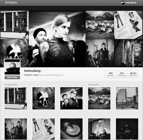 NOW LIVE.  THE HELMUT LANG INSTAGRAM WEB PROFILE.