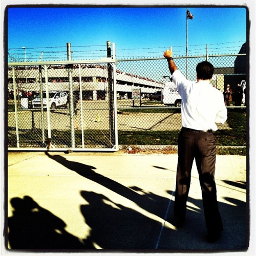 hollybailey:  Mitt Romney waves at supporters in Moon Township PA  Nice pic from Holly Bailey, on the road w Romney for Yahoo News. Romney voted from home this morning, before heading off to Ohio and Pennsylvania for last-minute campaign stops. —jess bennett