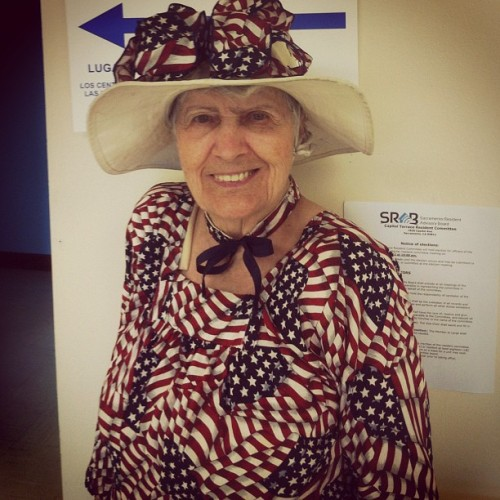 This 90 year old woman was greeting voters at my polling place. She made this dress 40 years ago when she was working on a campaign and has worn it every election day since. #dedication #vote #rockthevote #america #pride