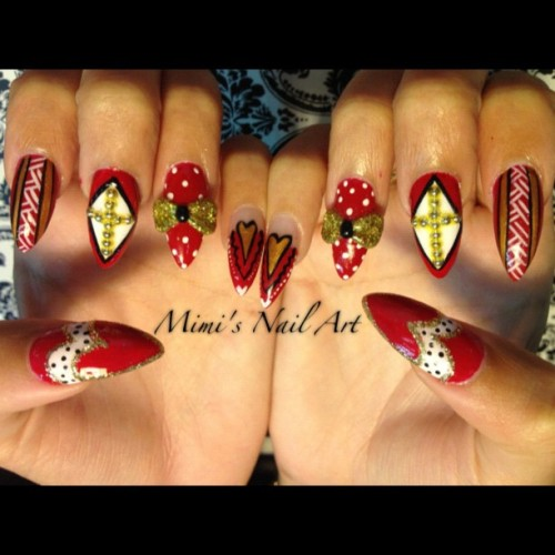 #nails #nailart #nailartclub #nailartswag #naildesigns #nailartheaven #nailartoohlala #mimisnailart #cross #bows #3d  #3dnails #hearts #tribal #tribalnails #polkadots #red  (at Mimi's Nail Art)