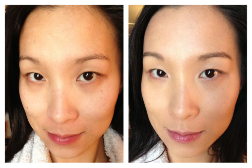 Before & After: Benefit Hello Flawless Oxygen WOW Brightening Makeup in I'm all the rage beige