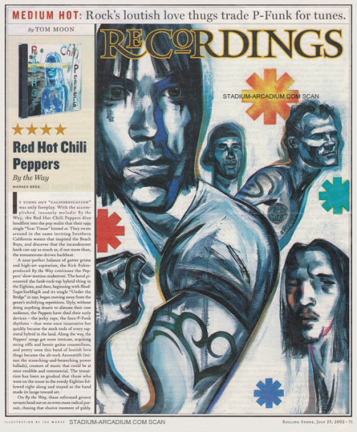 "By The Way Album Review and Red Hot Chili Peppers Illustration. Published in Rolling Stone Magazine on July 25th, 2002. ""The Red Hot Chili Peppers swim around in the same inviting Southern California waters that inspired the Beach Boys, and discover that the incandescent hook can say as much as, if not more than, the testosterone-driven backbeat.""Scan and Transcript"