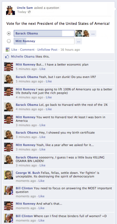 Obama vs. Romney on Facebook Team Pwnicorn presents the election's biggest social-networking debate.