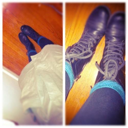Slouchy socks & Combat boots kind of day :). #sotd #ootd #combatboots #slouchysocks #jacket #gloomyoutside