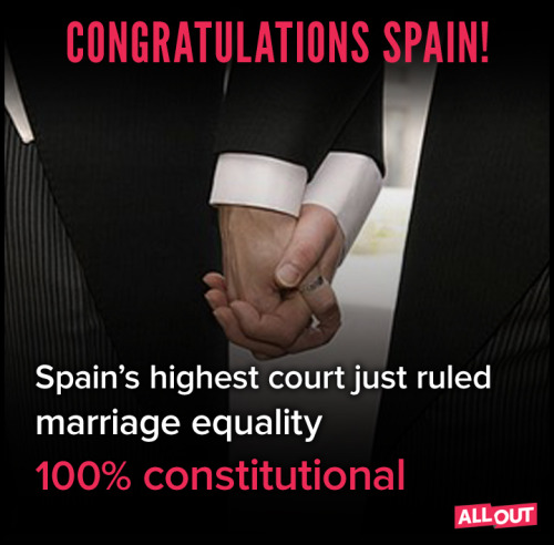 thetrevorproject:  Huge news from Spain today. Marriage equality is sweeping the globe