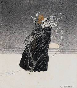 "fuckyeahvintageillustration:  This illustration by Kay Nielsen was inspired by the classic tale from Hans Christian Andersen, ""The Story of a Mother"", depicting the following text:  The roads crossed each other in the depths of the forest, and she no longer knew whither she should go! then there stood a thorn-bush; there was neither leaf nor flower on it, it was also in the cold winter season, and ice-flakes hung on the branches.""Hast thou not seen Death go past with my little child?"" said the mother.""Yes,"" said the thorn-bush; ""but I will not tell thee which way he took, unless thou wilt first warm me up at thy heart. I am freezing to death; I shall become a lump of ice!"" And she pressed the thorn-bush to her breast, so firmly, that it might be thoroughly warmed, and the thorns went right into her flesh, and her blood flowed in large drops, but the thorn-bush shot forth fresh green leaves, and there came flowers on it in the cold winter night, the heart of the afflicted mother was so warm; and the thorn-bush told her the way she should go. (Source)"