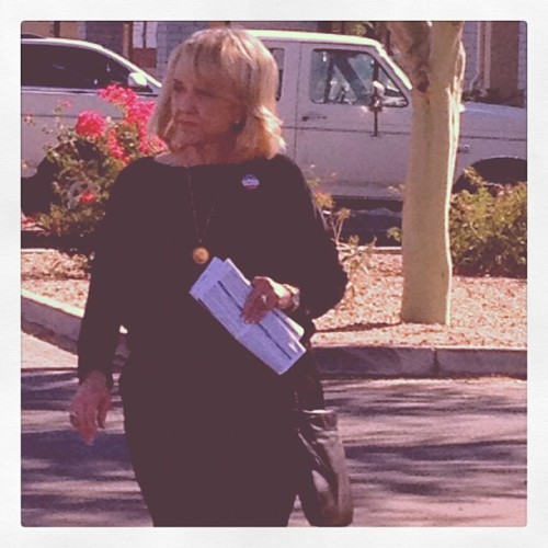 Arizona State Press news editor Danielle Grobmeier spotted Gov. Jan Brewer walking out of her Glendale polling place after she cast her ballot. Brewer will be joining Sen. John McCain and other Arizona conservatives in downtown Phoenix on Election Night to watch results.
