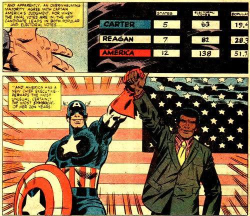 Vote America for America! What If? #26 (1981) written by Mike W. Barr, art by Herb Trimpe and Mike Esposito