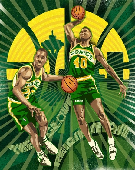 NBA Art: The Glove & Reign Man. #SuperSonics (via http://www.rareink.com)