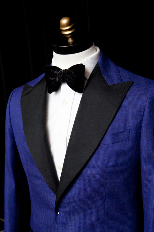 An electric blue Doyle Mueser tuxedo.