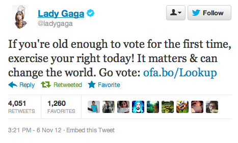 Mother Monster weighs in, thinks you should go vote already.