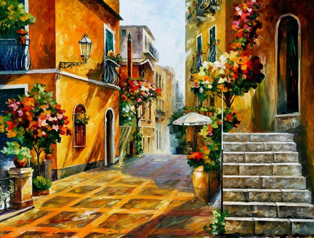 "antonio2oo4:  Leonid Afremov, ""The Sun of Sicily""."