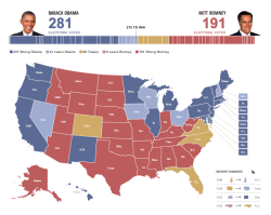 Great electoral map, by the Huffington Post. Screenshot above reflects estimates as of November 6 2012, 3:41PM PST.