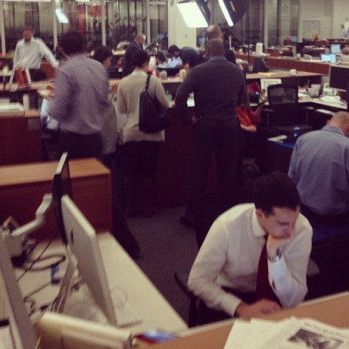 Gearing up for election results at the NYT (at New York Times Building)