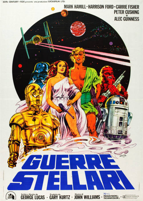 gingerhaze:  vintagegal:  Star Wars Italian poster by Michelangelo Papuzza  THAT LUKE SKYWALKER