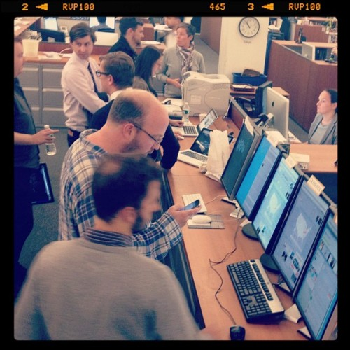 Monitoring Web, mobile and social sites during election night at the NYT. (at New York Times Building)