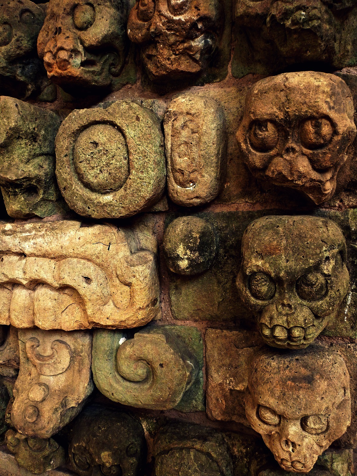 Ancient Mayan skull carvings from Copan. Courtesy & currently located at the Museo Regional de Arqueología Maya, Honduras. Photo taken by Recovering Vagabond