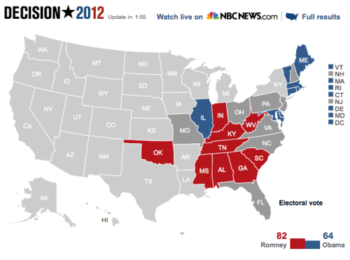 As of 8:05pm ET, NBC News declares Barack Obama the projected winner in DC, IL, RI, MA, MD, ME, DE, and CT. Mitt Romney the projected the projected winner in AL, GA, MS, TN, and OK. #NBCPoliticsFor the latest updates from NBC Politics, visit nbcnews.com all night and hit refresh for new data.Watch live coverage and analysis: http://nbcnews.to/SLFika