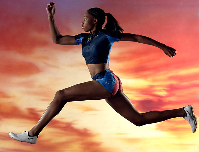 "Allyson Felix poses for SI photographer Peter Read Miller, who said of the shoot: ""We built a 30-foot ramp, painted a sunset sky background and had some foam pads for Felix to crash into as the future Olympian did a series of runs and jumps in advance of her first major story in SI."" The photo was shot with a Canon EOS-1Ds, EF 70-200mm f/2.8L IS USM zoom, shot at 1/250 f/6.3. (Peter Read Miller) GALLERY: Peter Read Miller's Favorite Shots"