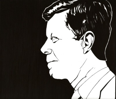 John F Kennedy to the tune of Ink on Illustration board.