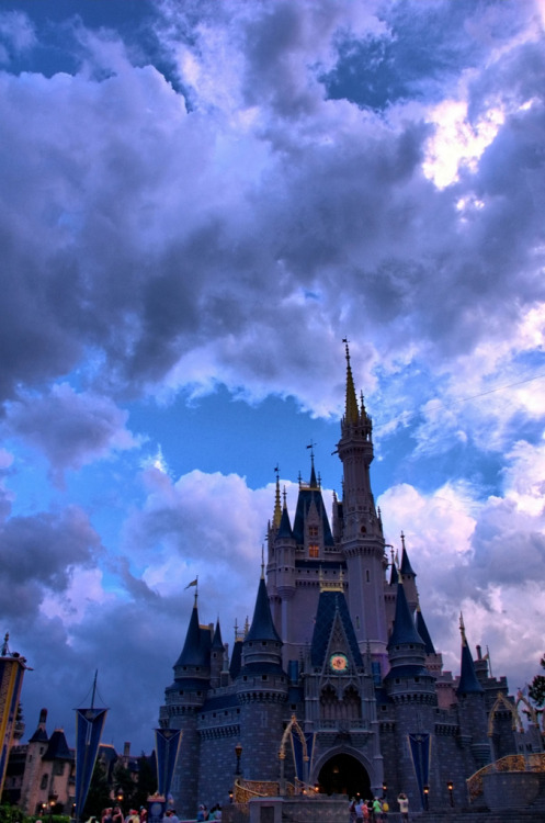 likeadisneyprincess:  Disney - Cinderella Castle at Dusk (by Express Monorail)