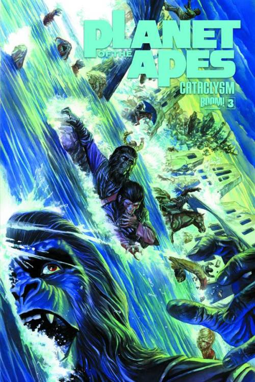 Market Tuesday Planet of the Apes: Cataclysm #3, co-written by Corinna Bechko  Running out of options, Cornelius, Prisca and the others try to find shelter before the fragments of the moon set off an even greater calamity: the destruction of the dam, and the only thing keeping Ape City away from the devastating waters…  ~Preview~