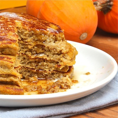 Pumpkin Ricotta Pancakes Ingredients 1 cup (4 1/2 ounces) all-purpose flour 1/2 cup (2 1/4 ounces) buckwheat flour 1 tablespoon baking powder 1/4 teaspoon baking soda 1/4 teaspoon kosher salt 1/4 teaspoon nutmeg 1/4 teaspoon cinnamon 1 teaspoon orange zest (approximately 1 orange) 2 extra large eggs, separated 2 tablespoons maple syrup, Grade B 1 cup buttermilk 2 tablespoons unsalted butter, melted 1/2 cup pumpkin puree from a can or make your own 1/4 cup ricotta cheese 1/4 teaspoon vanilla extract Source (I tried these pumpkin protein pancakes the other day and didn't really like them as much. Trying this recipe next.)