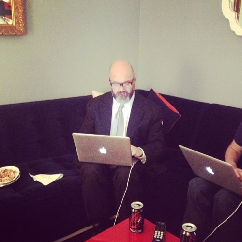 comedycentral:  Andrew Sullivan liveblogging in the @ColbertReport Green Room before tonight's #CCElection special.  Read the blog he's updating live!