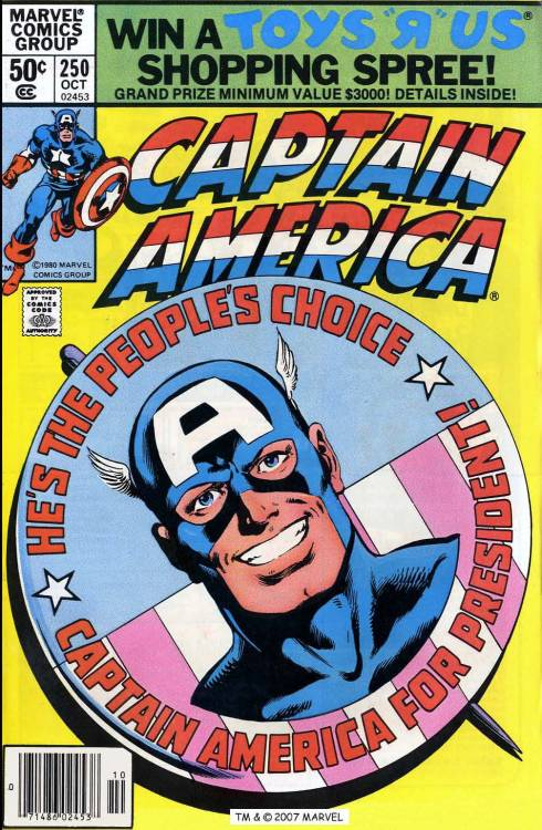 Captain America #250, October 1980, cover by John Byrne and  Joe Rubinstein