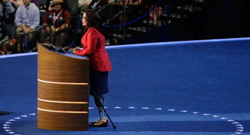 great-work-begins:  Meet your new hero, Congresswoman Tammy Duckworth, who just kicked Joe Walsh the rape apologist out of his seat.  *swoons*