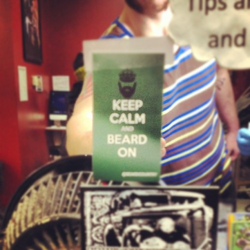 "@needlebeetle rockin the ""Keep Calm & Beard On"" @beardcountry sticker. Hit him up if you want a sick tattoo. #beardcountry #beardlife #tattoo #beardedtattooartist"