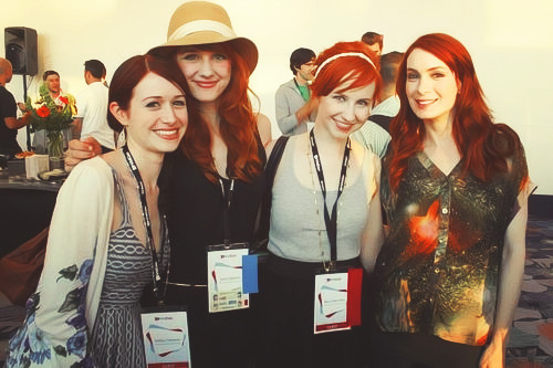 Ashley Clements, Laura Spencer, Mary Kate Wiles, and Felicia Day at VidCon