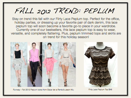 The Fashion Truck LOVES peplum tops- and this is our favorite Fall style! Available here: http://shop.fashiontruck.com/Lacey_Peplum_Top_p/f12-lpt.htm