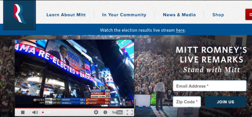 So going to Mitt's campaign website right now is pretty hilarious.