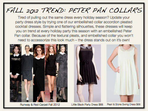 Looking for a perfect holiday party dress? Look no further- we have the cutest peter pan collar dresses available at our web shop! http://shop.fashiontruck.com/Little_Black_Party_Dress_p/f12-10352.htm