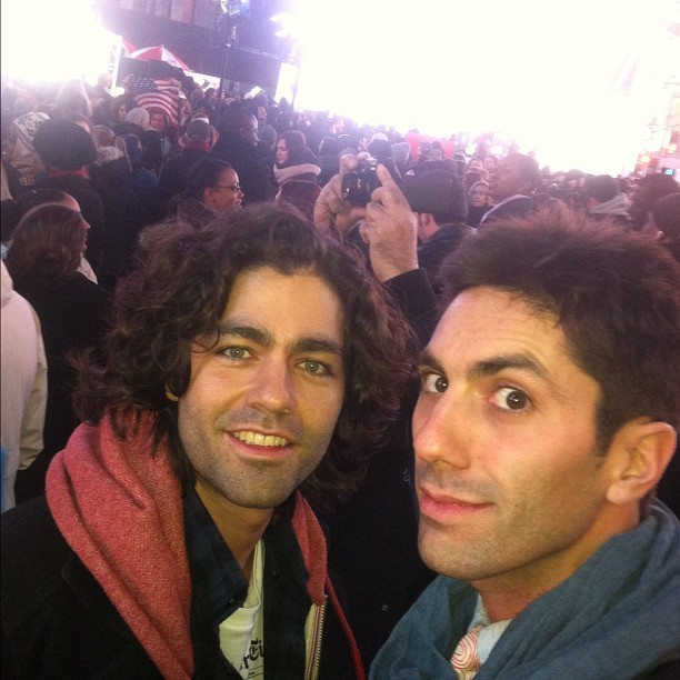 All smiles and relief in Times Square with @adriangrenier #Obama