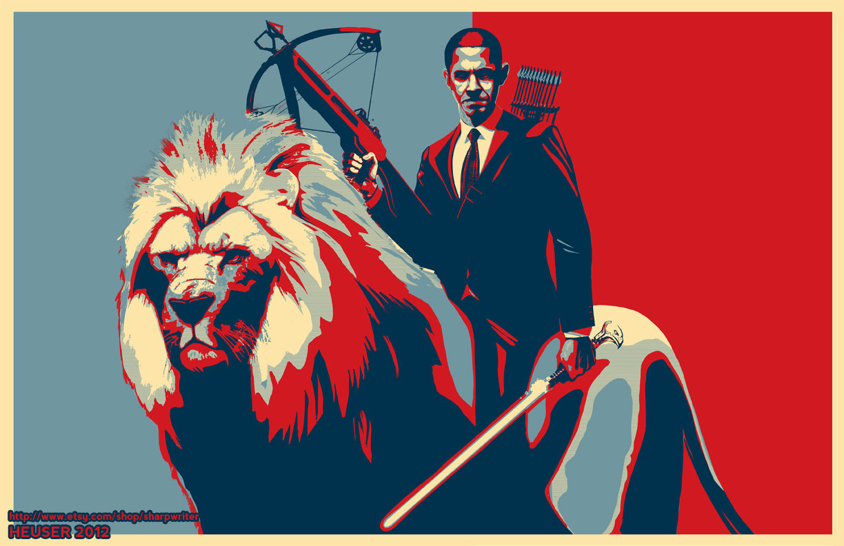 Jason Heuser (Sharpwriter), Obama Riding a Lion Poster, 2012 Get a print here.